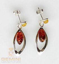 Bernstein Ohrstecker - Silber Ohrringe mit Bernstein für Damen Gemini Gemstones