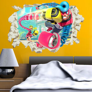 Arms Wall Sticker Decal in Crack Bedroom Kids Gift Home Switch Game Gamer Room