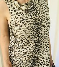 KITX WOMENS TOP BLOUSE SIDE SPLITS ANIMAL PRINT SOFT COTON SZ L