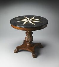 Traditional Round Foyer Hall Accent Table Fossil Stone Sunburst Top Carved