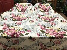 Vintage 1940's HIBISCUS FLORAL Pair of Handmade Pleated Curtains Drapes (RF1063)