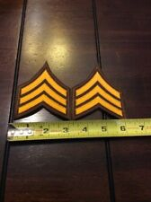 1 PAIR SERGEANT CHEVRON STRIPES ORANGE GOLD ON BROWN FOR POLICE  FIRE ETC NEW
