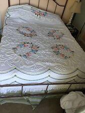 High End Vintage Chenille Bedspread Spread  Trim Floral White