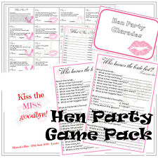 Personalised Hen Night Party Game Pack - Hen Do Fun - 4 Games - 10 Players