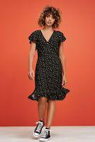 NEXT Black Polka Dot Flute Sleeve Tea Dress Size 20 BNWT Workwear Holiday Party