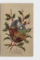 PPC POSTCARD MERRY CHRISTMAS HOLLY PAINTERS PALETTE LANDSCAPE SCENE EMBOSSED #1