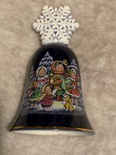 Cobalt Avon Christmas 1987 Decorative Porcelain Bell Gold Trim Snowflake Top