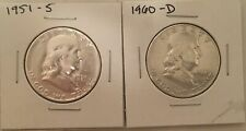 New ListingLot of 2 Franklin Half Dollars 90% Silver Us Coins