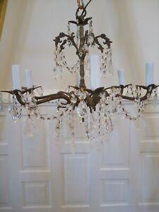 Antique Vintage Spanish 6 Arm brass chandelier Crystals