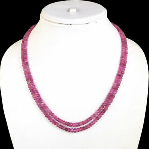 2 Strands Natural Ruby Necklace Pinkish Red Premium Beads 925 Silver Ruby Clasp