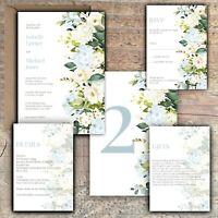 Personalised Luxury Rustic Wedding Invitations IVORY ROSE & BLUE HYDRANGEA PK 10