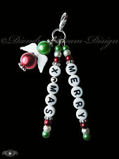SCHUTZENGEL Anhänger MERRY X-MAS * Frohe Weihnachten * ITALIEN * Grün Weiß Rot *