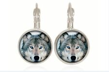 New Wolf Totem silver Glass cabochon 18mm handmade Earrings Jewelry GC-33