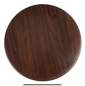 Bolero Pre-drilled Round Table Top Dark Brown 800mm - GL974