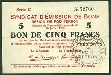 NECESSITE 5 FRANCS EMISSION DE BONS  REGION DE POIX TERRON ETAT: TTB+ lot 507