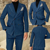 Vintage Blue Denim Double Breasted Men's Suits Business Formal Tuxedos Prom Suit