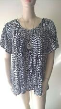 WOMENS PLUS SIZE 16 PRINTED TIE BACK VISCOSE TOP NEW WITH TAG