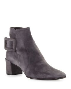 Roger Vivier Polly Suede Ankle Boots, Sz 39