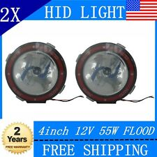 2PCS 4INCH 55W OFFROAD 12V 6000k FLOOD XENON HID 4X4 ROUND FOG MOUNT LIGHTS JEEP