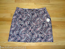 New Croft & Barrow Womens Stretch Skort Skirt w/Shorts Navy Red Paisley 18 $36