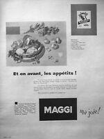 PUBLICITÉ DE PRESSE 1955 BOUILLON DE BOEUF AU VERMICELLE MAGGI EN SACHET
