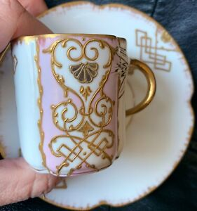 VERY RARE 1880 LS&S LIMOGES DEMITASSE CUP & SAUCER PINK WITH ETCHED GOLD DETAILS