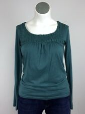 Velvet XL Cotton Green Applique Rosette Shirt Top Blouse Rosettes Stretch 14