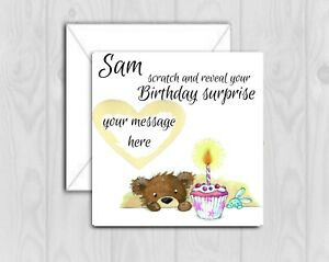 Personalised birthday Card Scratch To Reveal Surprise, holiday trip teddy