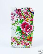 Samsung Galaxy S4 i9505 Case Flip Cover Etui Tasche Hülle Blumen Bunt Strass