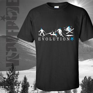 Funny evolution ski t-shirt, skis, boots bindings and all - skiing - gift