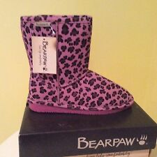 NIB! BEARPAW PINK/BL. SHEEP SKIN/SUEDE LEATHER BOOTS! GIRLS 4 $99.00+ MUST SEE!