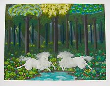 "JOSE CARLOS RAMOS ""HORSES AT THE LAKE"" Hand Signed Limited Edition Art Serigraph"