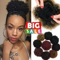 Large Afro Bun Ponytail Puff Drawstring Wrap Short Synthetic Curly as Human Hair