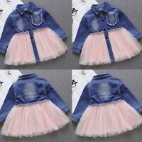 Toddler Kids Baby Little Girls Denim Tutu Tulle Dress Princess Party Dresses V8