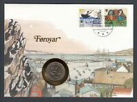 1984 Denmark Coin on 1984 Faroe Islands Philatelic Stamp Cover Coin Cover