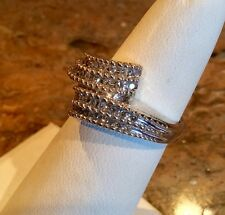 *DIAMONIQUE STERLING SILVER BYPASS RING SZ 5 BEAUTIFUL!! RETAIL $129