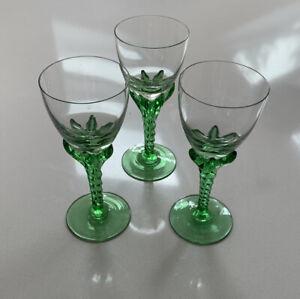 Vintage Sherry Glasses X3 Green Twist Stem