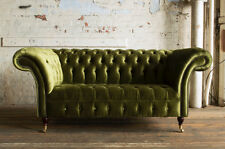 MODERN HANDMADE 2 SEATER PLUSH GREEN VELVET CHESTERFIELD SOFA COUCH CHAIR