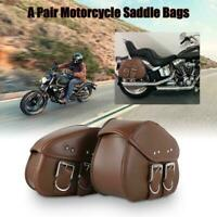 Motorcycle PU Leather Saddle Bag For Yamaha V-Star XVS 250 650 950 1100 Black T2