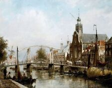 Magere Brug, Amsterdam by Dutch  Cornelis Dommersen. City Art 11x14 Print
