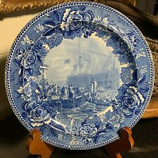 1899 Wedgwood Plate Blue Historical Transferware The Boston Tea Party Excellent