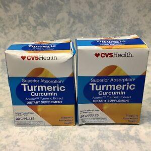 CVS Turmeric Curcumin Antioxidant Health 60 Capsules Exp 08/22 - Damaged Box