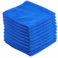 10pcs Large Blue Soft Microfibrer Cleaning Cloths Car Washing Towel Duster-WI
