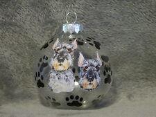 HAND MADE SCHNAUZER GLASS CHRISTMAS ORNAMENT / BALL