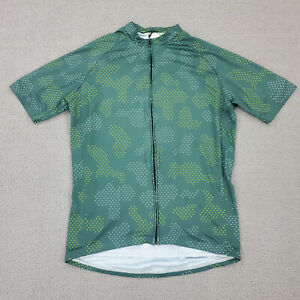 Twin Six Cycling Jersey Men's Large Green 3 Pocket Made in USA Full Zip