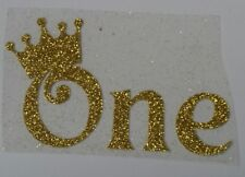 "Hotfix iron on transfer word the  ""ONE"" with crown in 8 colour choices"
