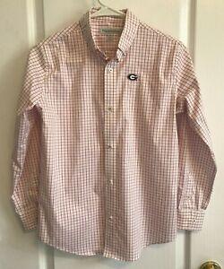 GEORGIA BULLDOGS Boys Button Shirt Long Sleeve RED White PLAID Size L 12-14