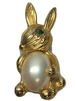 Vintage Gold Tone Faux Pearl Bunny Rabbit Brooch Pin Green Rhinestone Eye
