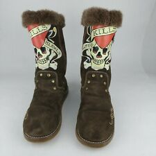 Don Ed Hardy Suede Boots Christian Audigier LOVE KILLS SLOWLY Women's US 7 HTF