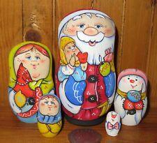 Russian SMALL MATRYOSHKA 5 nesting dolls Father Christmas Santa Frost Snowman